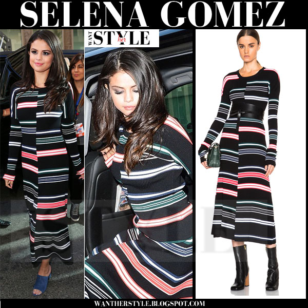 Selena Gomez in black striped maxi kenzo dress what she wore