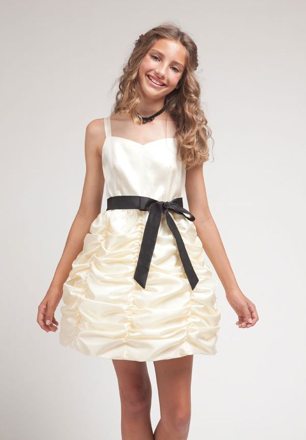Satin Sweetheart A-Line Short Junior Bridesmaid Dress
