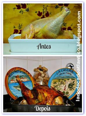 Foto de uma ave antes e após sua preparação no forno.