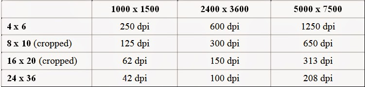 photography resolution dpi comparison chart