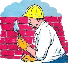 Dibujo de un albañil asentando ladrillos
