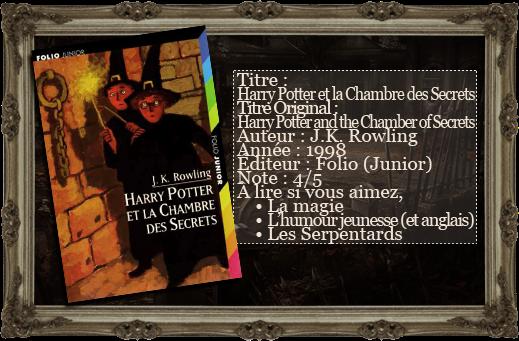 Les lectures du vampire aigri harry potter et la chambre - Harry potter et la chambre des secrets livre ...