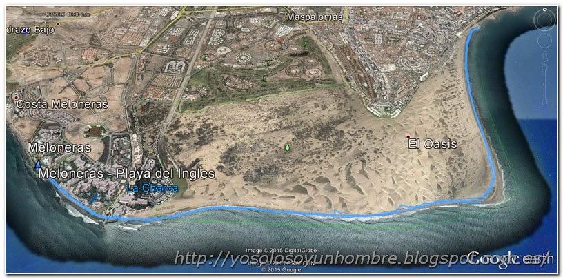 Mapa ruta Meloneras a Playa del Ingles