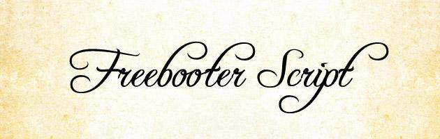 Freebooter Script | 丸まった線が特徴的なクラシックな雰囲気な筆記体フリーフォント。ファンタジー映画やゲームに使われていそう。