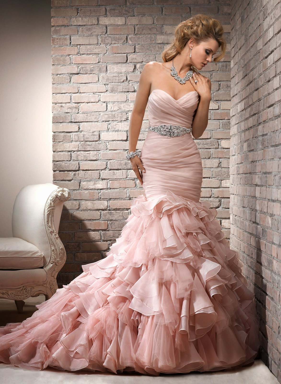 beautiful bridal blush pink wedding dress