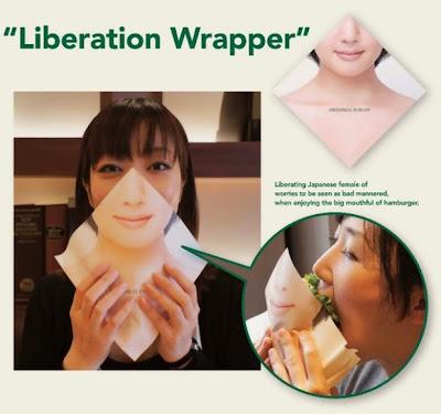 Liberation Wrapper, cara wanita jepang menutup mulut saat makan burger