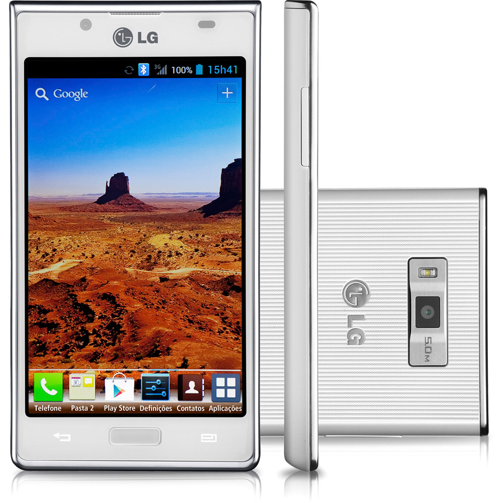LG Optimus L7 P700 Imagen frontal, lateral y trasera