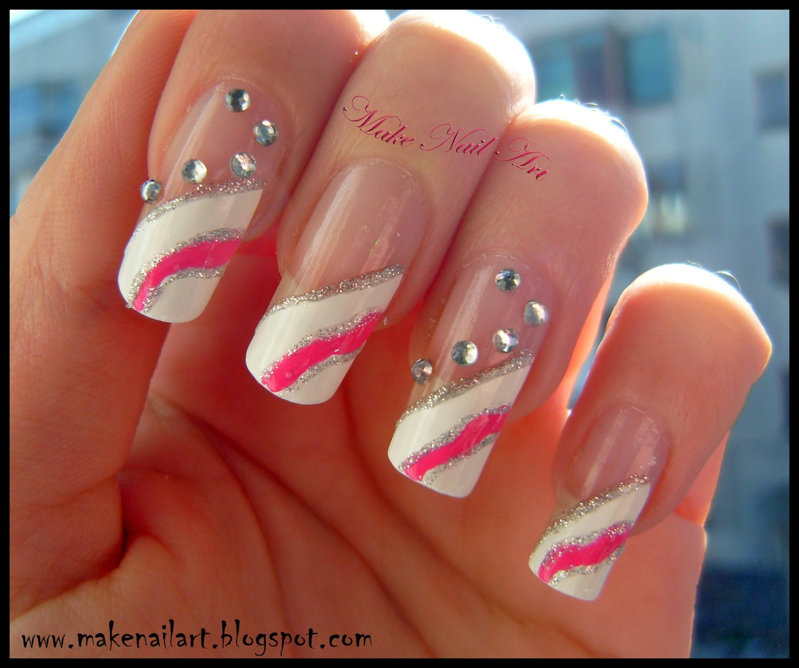 2014 Nail Art Ideas For Prom: Make Nail Art: White And Pink Prom Nails Nail Art Tutorial