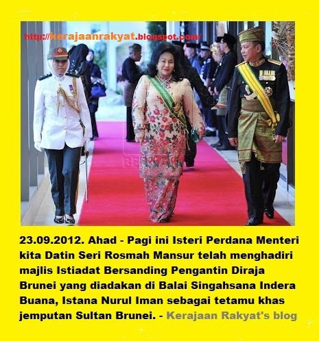 Datin Seri Rosmah Mansor menghadiri majlis Istiadat Bersanding Pengantin Diraja Brunei yang diadakan di Balai Singahsana Indera Buana, Istana Nurul Iman