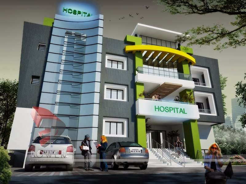 Modern hospital architecture hospital healthcare 3d building design