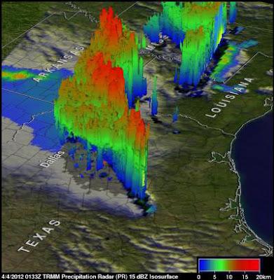 Mapa 3D tormentas Texas, Abril 2012