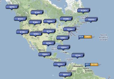 World airfare map comparison