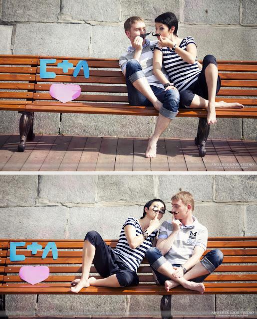 влюбленные на скамейке