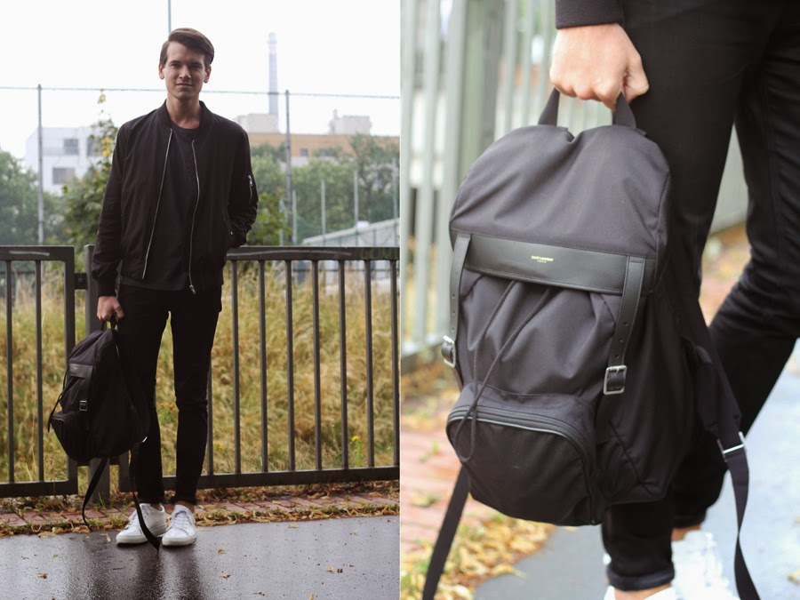 street style mercedes benz fashion week berlin bag rucksack casual