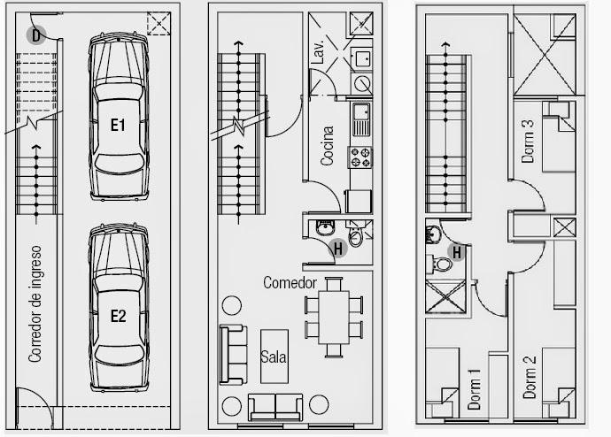 Planos casas modernas plano casa en terreno peque o - Planos de casas alargadas ...