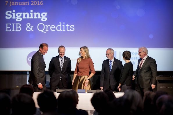 Queen Maxima attends the signing ceremony of 100 million from the European Investment Bank to Credits microfinance Netherlands