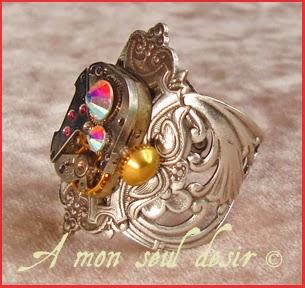 Bague Steampunk Mécanisme Mouvement de Montre Mécanique Strass Swarovski Rhinestones Clock Work Watchwork Ring Jewel