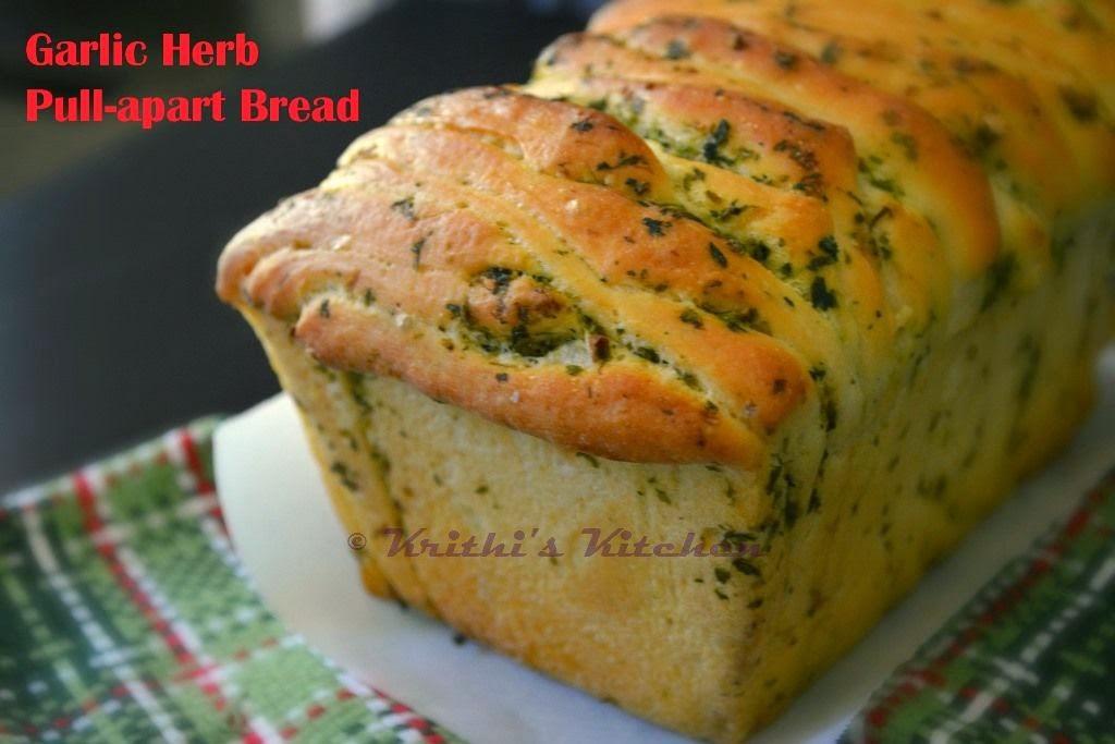 Krithi's Kitchen: Garlic Herb Pull Apart Bread