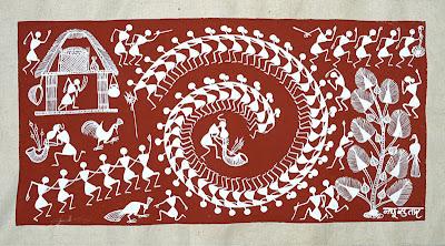 Warli Painting Red Mud