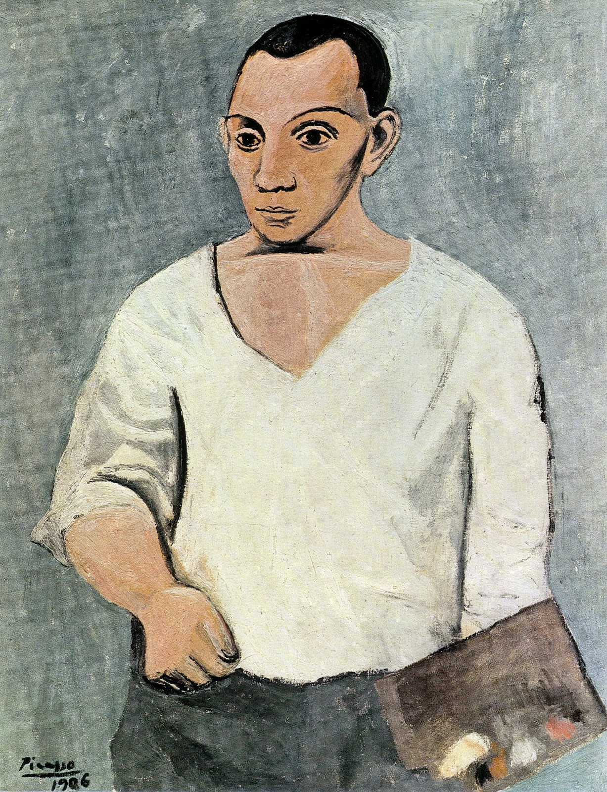Self portrait with palette 1906