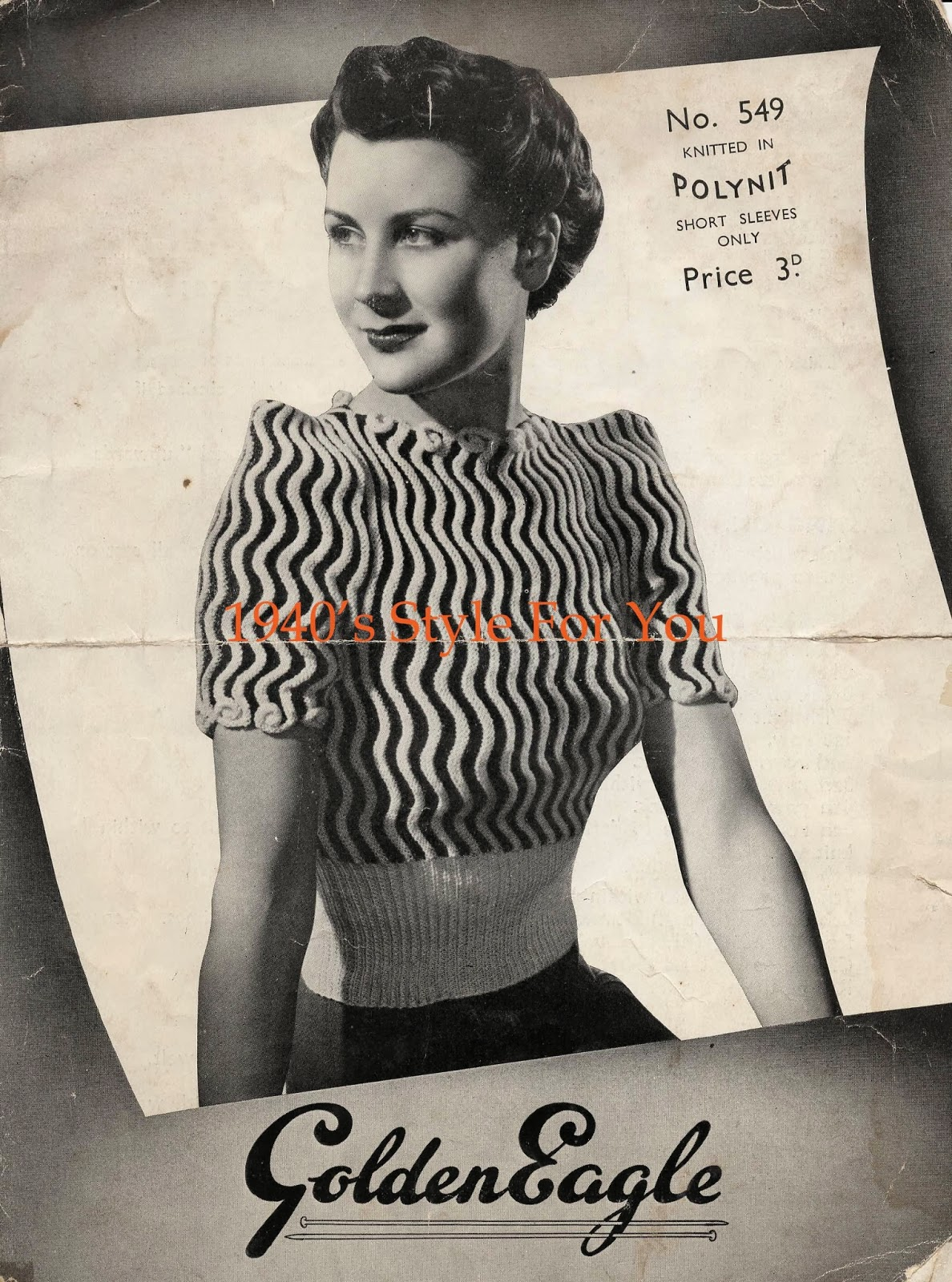 1940's Knitting - Seawaves Jumper FREE KNITTING PATTERN