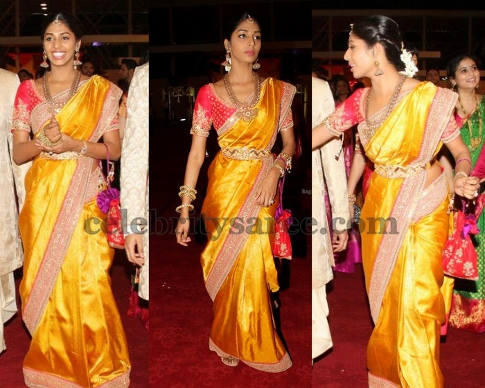 Pinky Reddy Daughter Mustard Sari