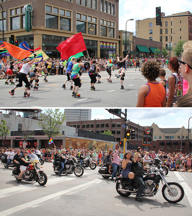 Roller girls at Pride, 2015