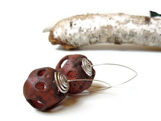 Hollow globes meteorite earrings