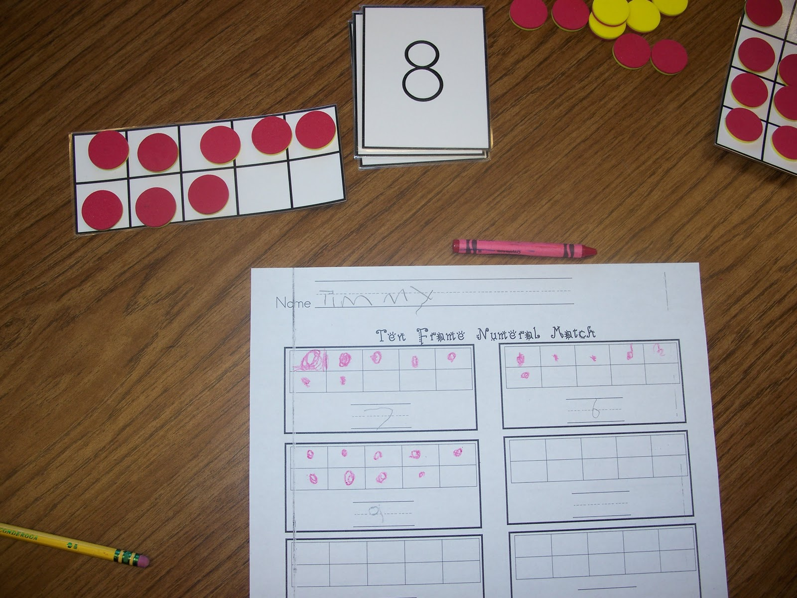 this was my small group math activity a few weeks ago i would show the group a number card and they were to show that number on their ten frame