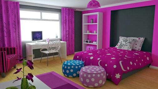 Warna kamar tidur minimalis ungu 2015