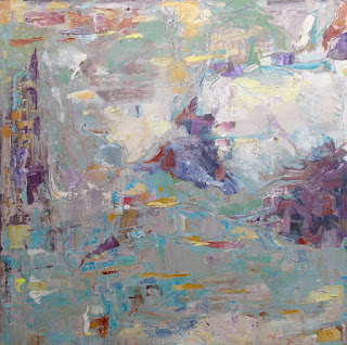 Abstract painting by Karri McLean Allrich 30x30 Island Blues