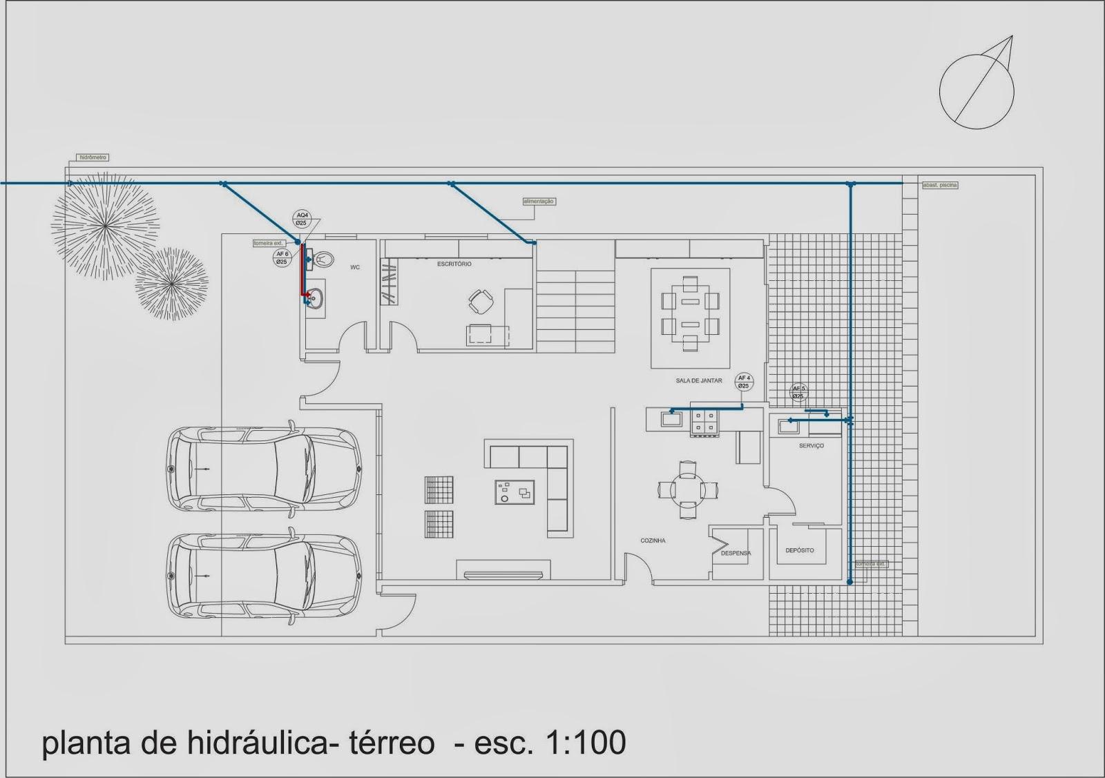Pellegrino : Projeto de instalações hidráulicas para residência #244563 1600 1127