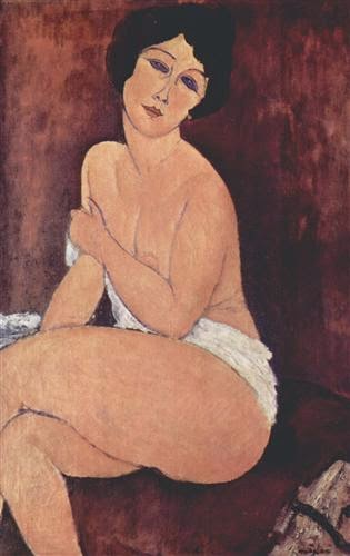 Amedeo Modigliani Reclining Nude on White Pillow