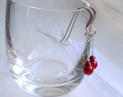 Christmassy Sterling Silver earrings, Swarovski Crystal Earrings, Red Earrings