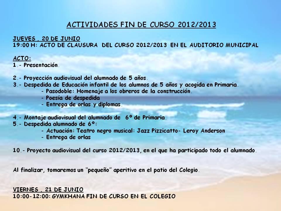 Cristo del Valle Fuentealbilla: ACTIVIDADES FIN DE CURSO 2012/2013