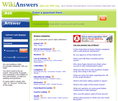 how to ask a question on wikianswers