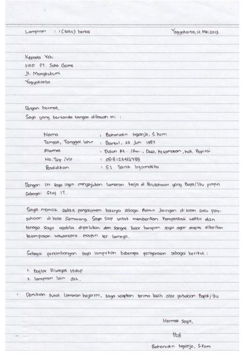 Contoh Lamaran Kerja Tulis Tangan Yang Baik Dan Menarik