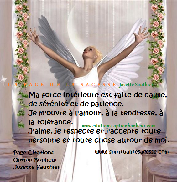 La page de la sagesse citation sur la s r nit et la for Force interieur