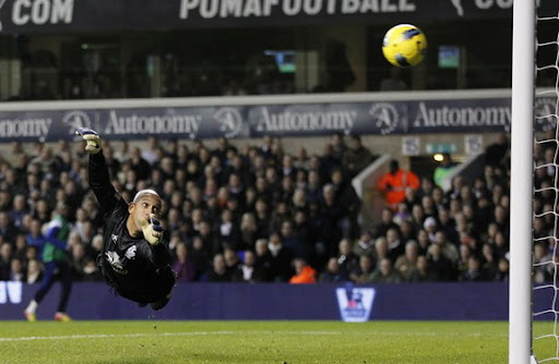 Everton goalkeeper Tim Howard watches the ball go into the net as Benoît Assou-Ekotto scores