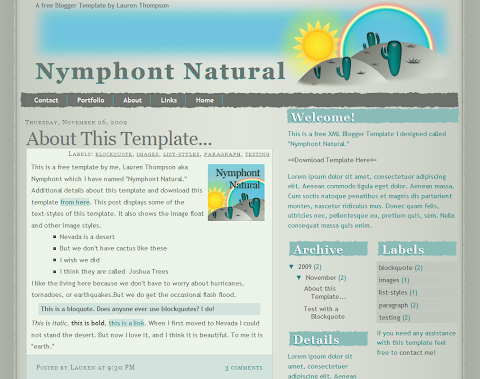 Nymphont Natural Blogger Theme