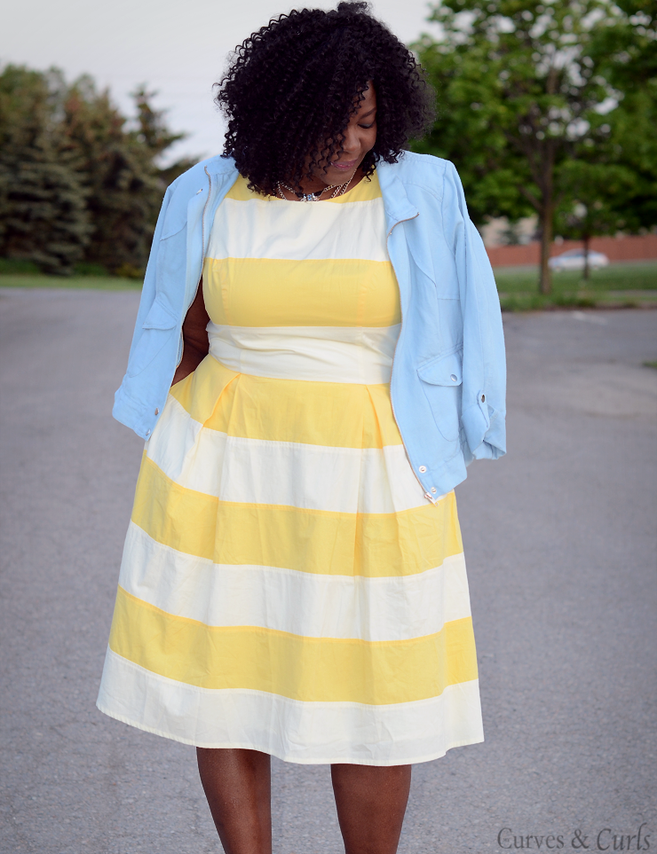 #Eshakti plus size yellow and white stripes dress. #plussize #fashion #curves #psblogger #ootd #pastels