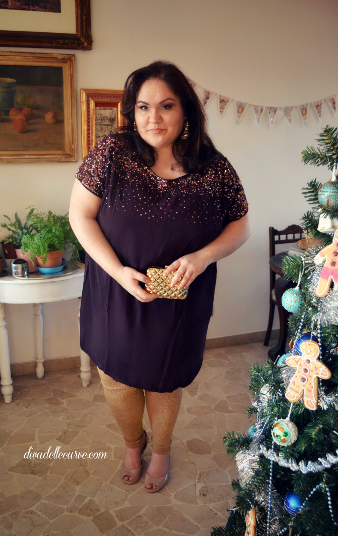 lookbook di outfit di capodanno plus size e curvy con tunica yours clothing