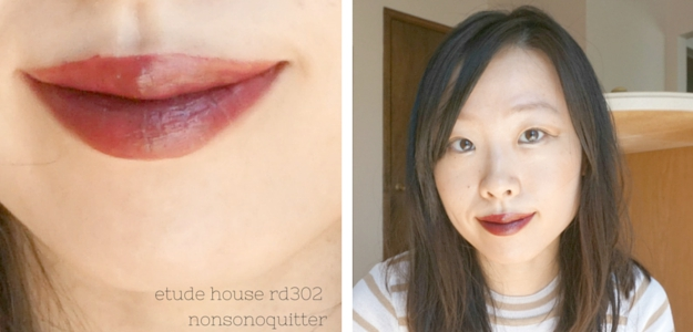 Etude House Dear My Lips Wish Talk in RD302 Runway Burgundy swatch