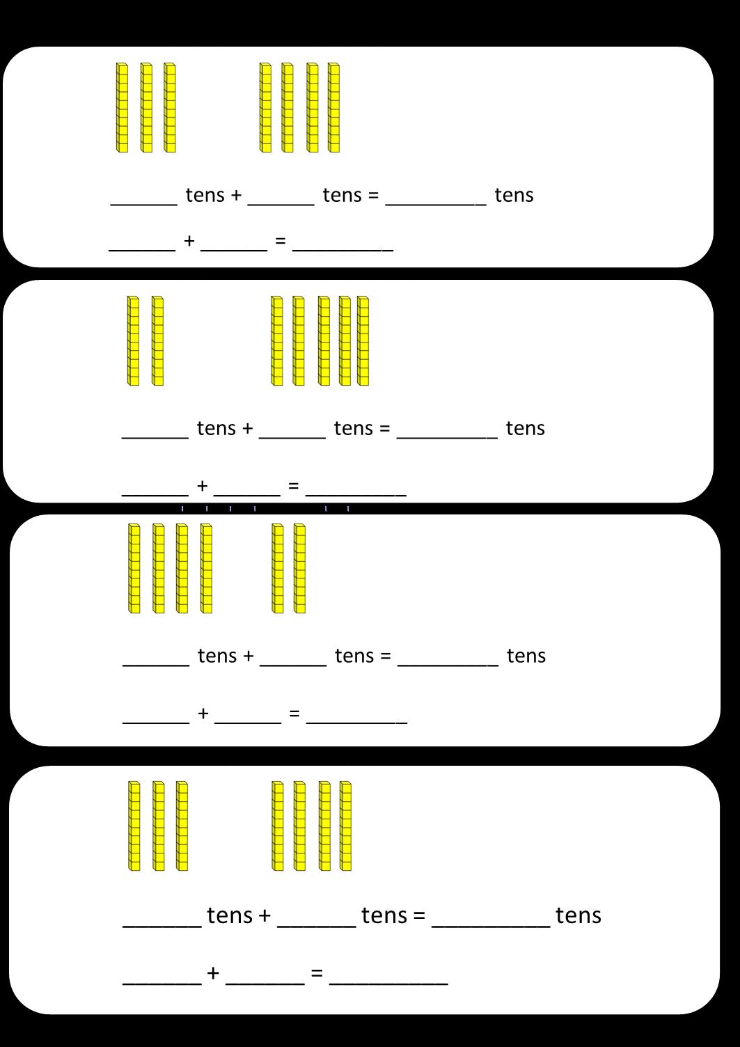 Base Ten Worksheets : Base ten blocks addition and subtraction worksheets