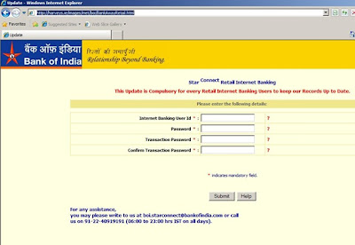 bank of india online banking login
