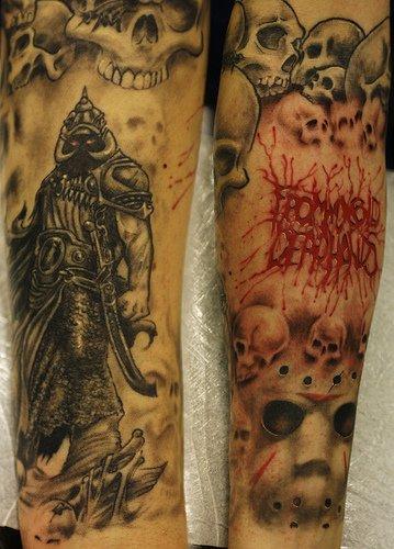 skull sleeve tattoos. Death Themed Tattoo Arm Sleeve
