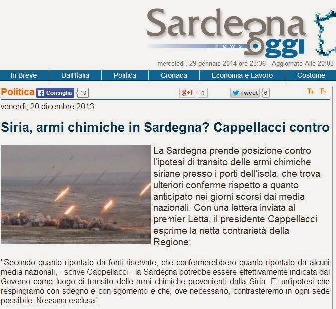 SIria, armi chimiche in Sardegna? Cappellacci contro