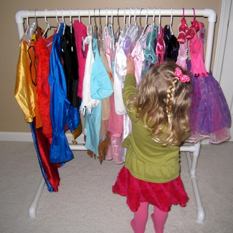 Four by two hanging it up diy dress up clothes rack the kids love it and so do i its the perfect size for preschoolers and even once its outlived its current purpose i can still see myself using it to solutioingenieria Gallery
