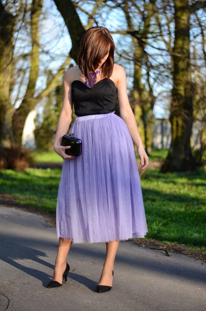 `Violet tulle skirt.