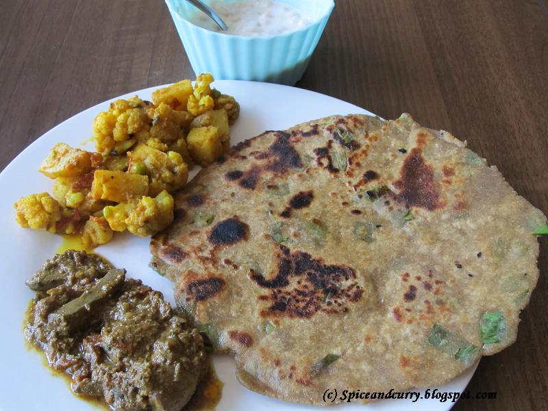 Millet flour spring onion paratha